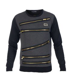 COTE DE NUITS Crew sweatshirt Long sleeves Zipper detail throughout Textured fabric all-over