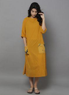 Yellow Cotton Shift Dress