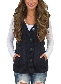 1f435ef768 Blibea Womens Sleeveless Hoodies Sweater Vest Button Cable Knit Cardigan  Coats  fashion  clothing
