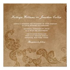 Vintage Chic Floral White Peacock Wedding Invite