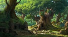 Old temple in the forest, yeonji Rhee on ArtStation at https://www.artstation.com/artwork/old-temple-in-the-forest