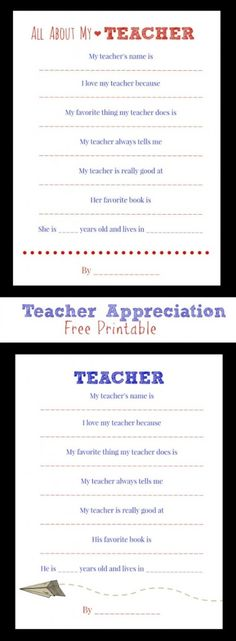 Free Printables for Teacher Appreciation Week.