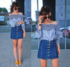 ootd with bardot striped blouse, button front denim skirt and espadrilles: http://jointyicroissanty.blogspot.com/2017/08/stripes.html