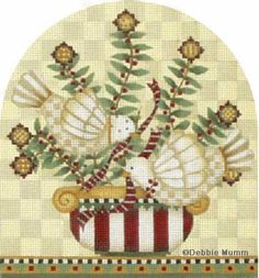 Melissa Shirley Designs | Hand Painted Needlepoint | Twelve Days of Christmas Two Turtle Doves � Debbie Mumm