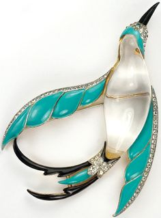 Trifari 'Alfred Philippe' Jelly Belly Turquoise and Black Winged Bird of Paradise in Flight Pin ~