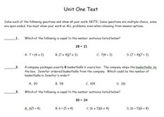 6th Grade Math Common Core Unit One Assessment Packet