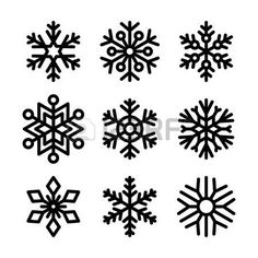 Illustration of Snowflake winter set illustration vector art, clipart and stock vectors. Christmas Deserts, Felt Christmas, Christmas Rock, Christmas Crafts, Christmas Decorations, Snowflake Stencil, Snowflake Designs, Diy Crafts For Gifts, Paper Crafts