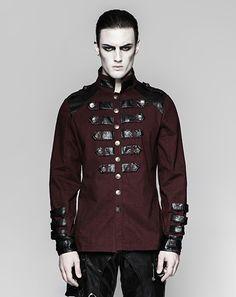 Dunkelrotes Gothic- / Military-Langarm-Hemd Dragonheart