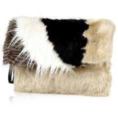River Island Black faux fur clutch bag ($70) ❤ liked on Polyvore featuring bags, handbags, clutches, bags / purses, black, clutch bags, women, river island purse, patchwork purse and faux fur handbags