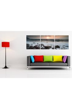 Colorful couch and cool panorama canvas. #Furniture