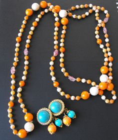 Vtg Flapper Length Orange Pink Glass Bead Necklace Turquoise Orange Earring *MM* #Unbranded