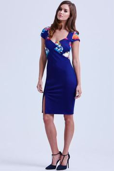 Paper Dolls Navy Tropical Floral Sweetheart Dress