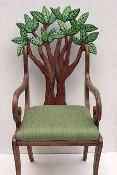 Tree / nature chair / unique furniture / design / home decor / Green / brown nature color scheme