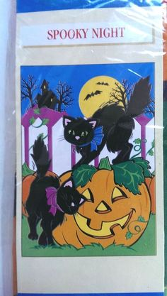 Spooky Night Halloween Decorative Flag 28 x 40 Cats Pumpkin Moon Bats NIP #NCE