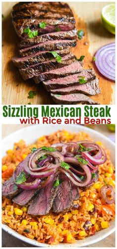 Grilled Mexican Steak with Rice and Beans #ad #steak #dinner #mexican #mexicanfood