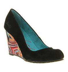 Blowfish IIIi WEDGE BLACK FAWN PRINT Shoes - Womens Mid Heels Shoes - Office Shoes