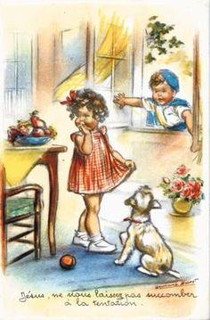 Cartes anciennes de Germaine Bouret                                                                                                                                                                                 Plus Images Vintage, Vintage Cards, Vintage Paper Dolls, Antique Art, Vintage Children, Vintage Postcards, Coloring Books, Book Art, Illustration Art