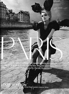 Lily Donaldson for British Vogue.  Editorial: 'Paris'.  Photographer: Patrick Demarchelier. 2009.