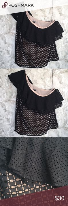 "One Shoulder Eyelet Top J. Crew NWT NWT One shoulder eyelet top from J Crew summer 2017 collection. Size 4 (runs a little large so will fit size 4-6). Pale pink lining under black cotton eyelet with ruffle neckline. 14"" long from BOTTOM of armpit to hem; 22"" from top shoulder seam to hem; approx 17"" across armpit to armpit. Cotton & poly. Handwash/wash delicate. J. Crew Tops"
