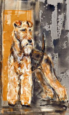 The Art of Martial Robin Welsh Terrier, Airedale Terrier, Fox Terrier, Best Puppies, Best Dogs, I Like Dogs, Dog Paintings, Clowns, Dog Art