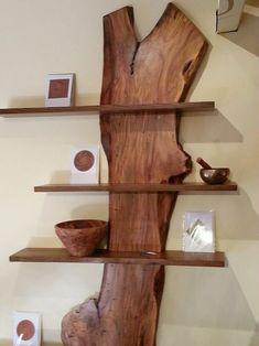 in a gallery in Black Mountain, NC. - Seen in a gallery in Black Mountain, NC. – -Seen in a gallery in Black Mountain, NC. - Seen in a gallery in Black Mountain, NC. – - Live Edge Wood With Glass Shelves Live Edge Furniture, Log Furniture, Apartment Furniture, Furniture Online, Furniture Ideas, Woodworking Wood, Woodworking Projects, Woodworking Equipment, Home Decor Ideas