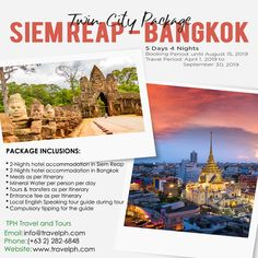 (Land Arrangement Only) Minimum of 2 persons  For more inquiries please call: Landline: (+63 2)282-6848 Mobile: (+63) 918-238-9506 or Email us: info@travelph.com #SiemReap #HoChiMinh #TravelPH #TravelWithNoWorries Siem Reap, Travel Companies, Travel Tours, Twin Cities, Spring Day, Travel Agency, Day Tours, Manila, Cambodia
