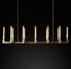 Cannele Linear Chandelier Modern Brass | RH Modern
