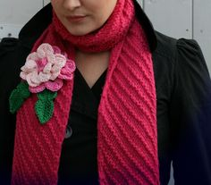 Coco Rose Diaries: Trying Something New...… knitted scarf and scrumptious crocheted flower.