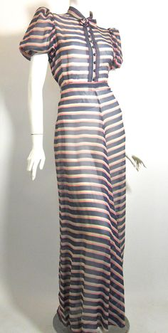 Sheer pink, white, and blue striped evening gown, 1930s.
