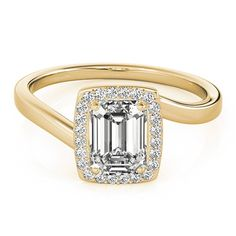Transcendent Brilliance Halo Curved Shank Emerald Cut 1 1/8 TDW Diamond Engagement Ring (Yellow - Size 7), Women's, Pink