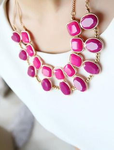 Morpheus Boutique  - Pink Stone Crystal Gold Plated Chain Elegant Necklace