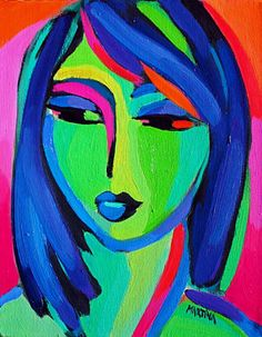 Ryan H Girl With Blue Hair original oil painting by Canadian artist Martina Shapiro Abstract Face Art, Abstract Portrait, Cardboard Sculpture, Fauvism, Figure Painting, Shell Painting, Canadian Artists, Silhouette, Painting Inspiration