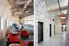 First pic: Draped pendant bulbs... possible classroom solution Second pic: monorail pendants... cool concept