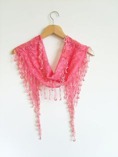 Hot Pink Scarf / Lace Fabric / Lacy Edge / by AnatolianAccessories, $11.50