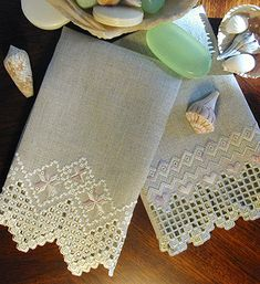 Touch of Elegance Hardanger Guest Towels by Cindy Valentine Designs
