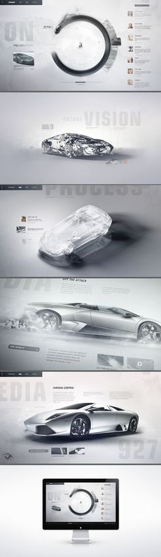 Lamborghini Lineage / Interactive concept design for Automobili Lamborghini. A gestural touch-screen interface invites enthusiasts to explore the lineage of the acclaimed automaker through a timeline emphasizing creative history, technology, and process. A lightweight social layer permeates the editorial layouts in real-time piped directly from tastemakers and brand evangelists.