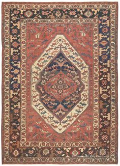 Serapi, 11ft 9in x 16ft 9in, Circa 1875.  This energetic, deeply artistic room size Serapi antique Persian carpet features a charming, folk-inspired design that uses artful abstracted fronds as a compelling repeated motif in a way seldom found in rugs of this style. Similarity of scale permits its faceted, elemental motifs to achieve a mosaic-like effect in the viewer's eye.