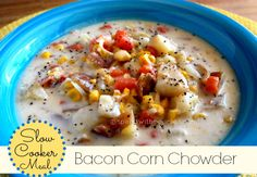 Slow Cooker: Creamy Bacon Corn Chowder This delicious chowder can simmer all day in the crockpot, ready to serve when you are. Filled with chunks of tender potato, salty bacon, and sweet carrots, it's even better the next day. Slow Cooker Bacon, Crock Pot Slow Cooker, Crock Pot Cooking, Slow Cooker Recipes, Crockpot Recipes, Cooking Recipes, Crock Pots, Bacon Corn Chowder, Chowder Soup