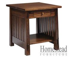 Country Mission End Table #4575 Shown in: Red Oak Optional: Drawer Create your own style by choosing from a variety of hardwoods and finishes.Also available with side panels instead of slats,Country Shaker style. http://homesteadfurnitureonline.com/occasionals_country-mission-end-table-4575.html