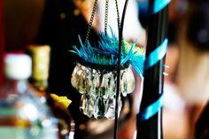 mini chandelier with blue flower