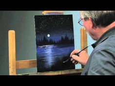 Moonlit Night Sky Clouds acrylic painting lesson available at http://www.timgagnon.com - YouTube