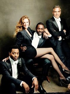 Chiwetel Ejiofor, Julia Roberts, Idris Elba and George Clooney by Annie Leibowitz, 2014