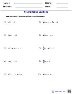 Dividing Radical Expressions Worksheets | Math-Aids.Com ...