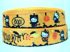 halloween hello kitty 1 Grosgrain printed ribbon by ribbonsandbead, £1.10