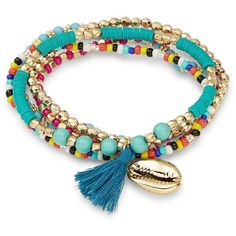 Noir Layered Tassel Bracelet (€17) ❤ liked on Polyvore featuring jewelry, bracelets, goldtone, bead charms, gold tone jewelry, tri color bangles, tassel charms and charm jewelry