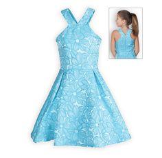 6d88861f8d6 Turquoise Flower Power Tween Girls Dress