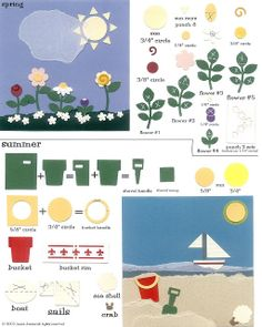 Spring and Summer - flowers, sailboat, bucket, shovel Paper Punch Art, Punch Art Cards, Card Making Inspiration, Making Ideas, Summer Punch, Craft Punches, Pattern Art, Art Patterns, Scrapbook Cards