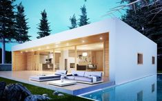Bungalows, Prefabricated Houses, Prefab Homes, Style At Home, House 2, Tiny House, Car Awnings, Wooden Facade, Timber Frame Homes