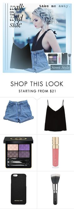 """""""Be Blue"""" by rosiecheeksandfreckles ❤ liked on Polyvore featuring Bill Blass, Raey, Gucci, Smith & Cult, MICHAEL Michael Kors and MAC Cosmetics"""