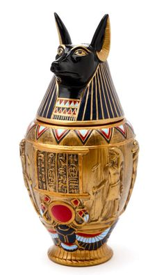 This exquisite, hand painted, cold cast resin canopic jar may be used as an urn. It's approx 8 inches tall, lid is removable. This urn is ideal for small to medium dogs. Egyptian Queen, Ancient Egyptian Art, Ancient Aliens, Egyptian Anubis, Ancient Greece, Egyptian Furniture, Egyptian Home Decor, Egyptian Party, Canopic Jars